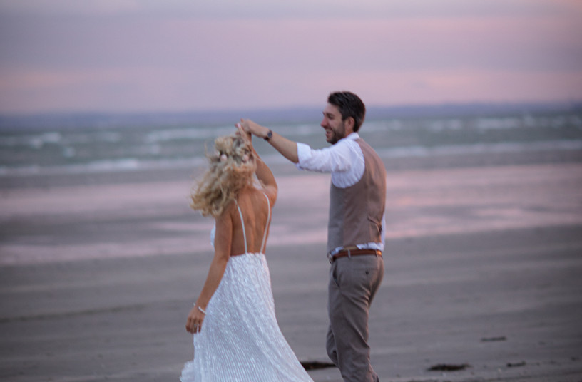 beach front wedding in Chichester West Sussex photographing bride and groom
