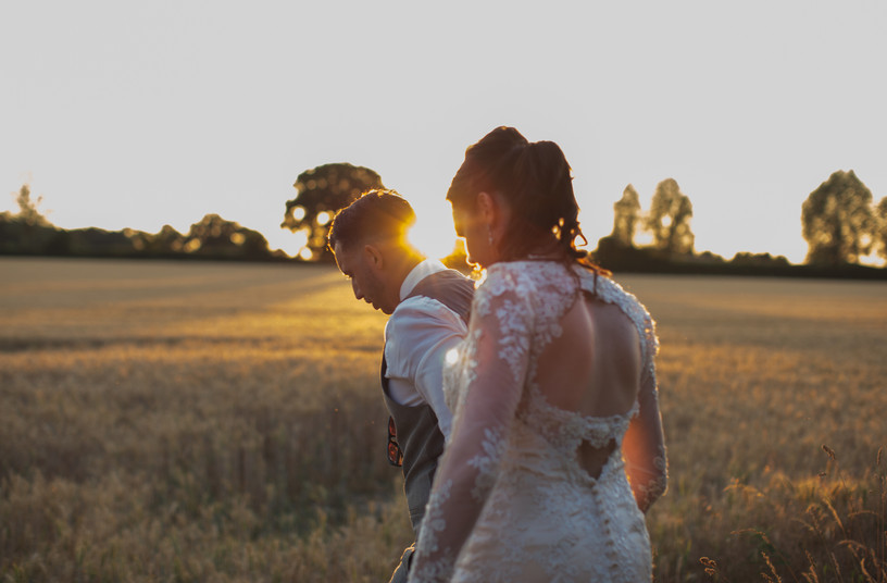 Chichester bride and groom photography in corn field