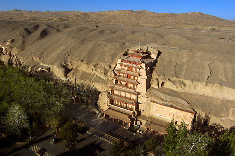 The entrance to the Mogao Caves in Dunhuang, Gansu, China