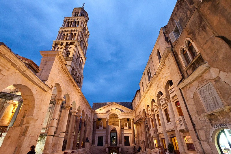 The Peristyle of Diocletian's Palace at dusk