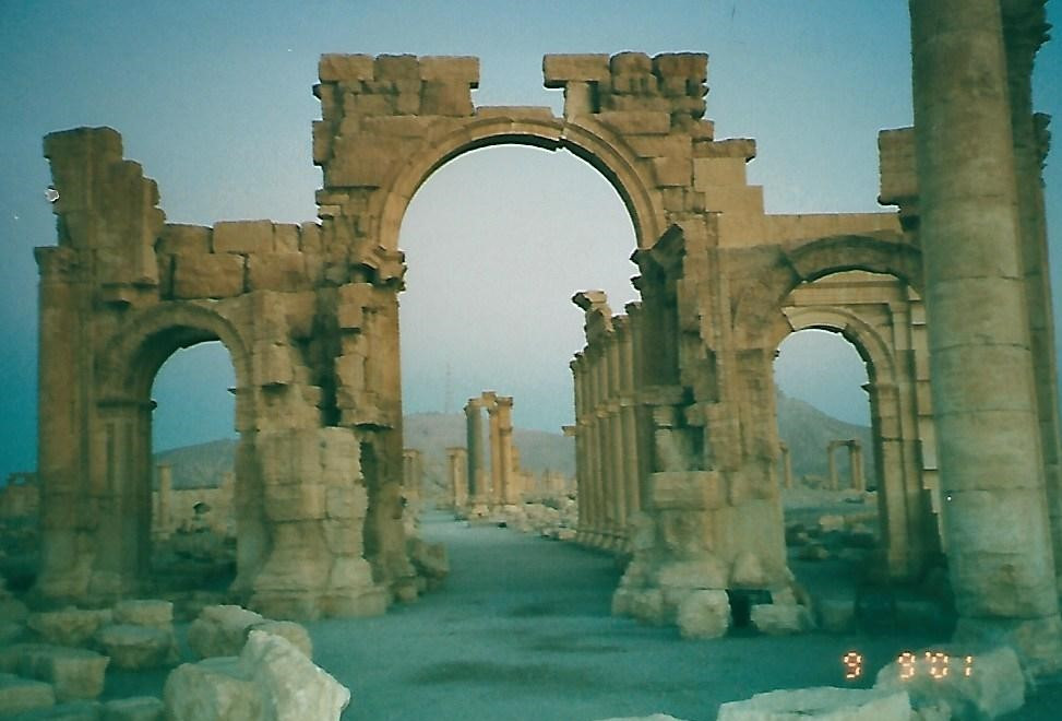 Palmyra colonnade at sunrise