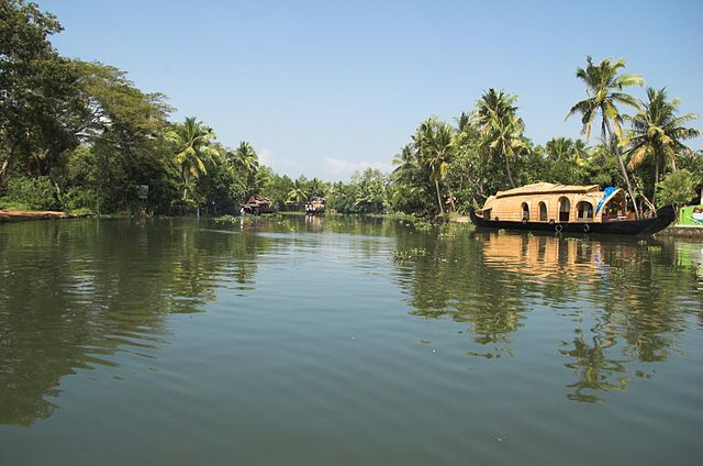 A houseboat drifts along the palm-lined backwaters