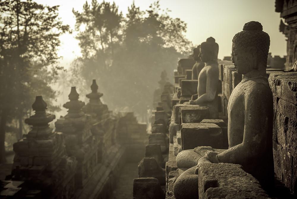 The Buddha at the Borobudur Temple