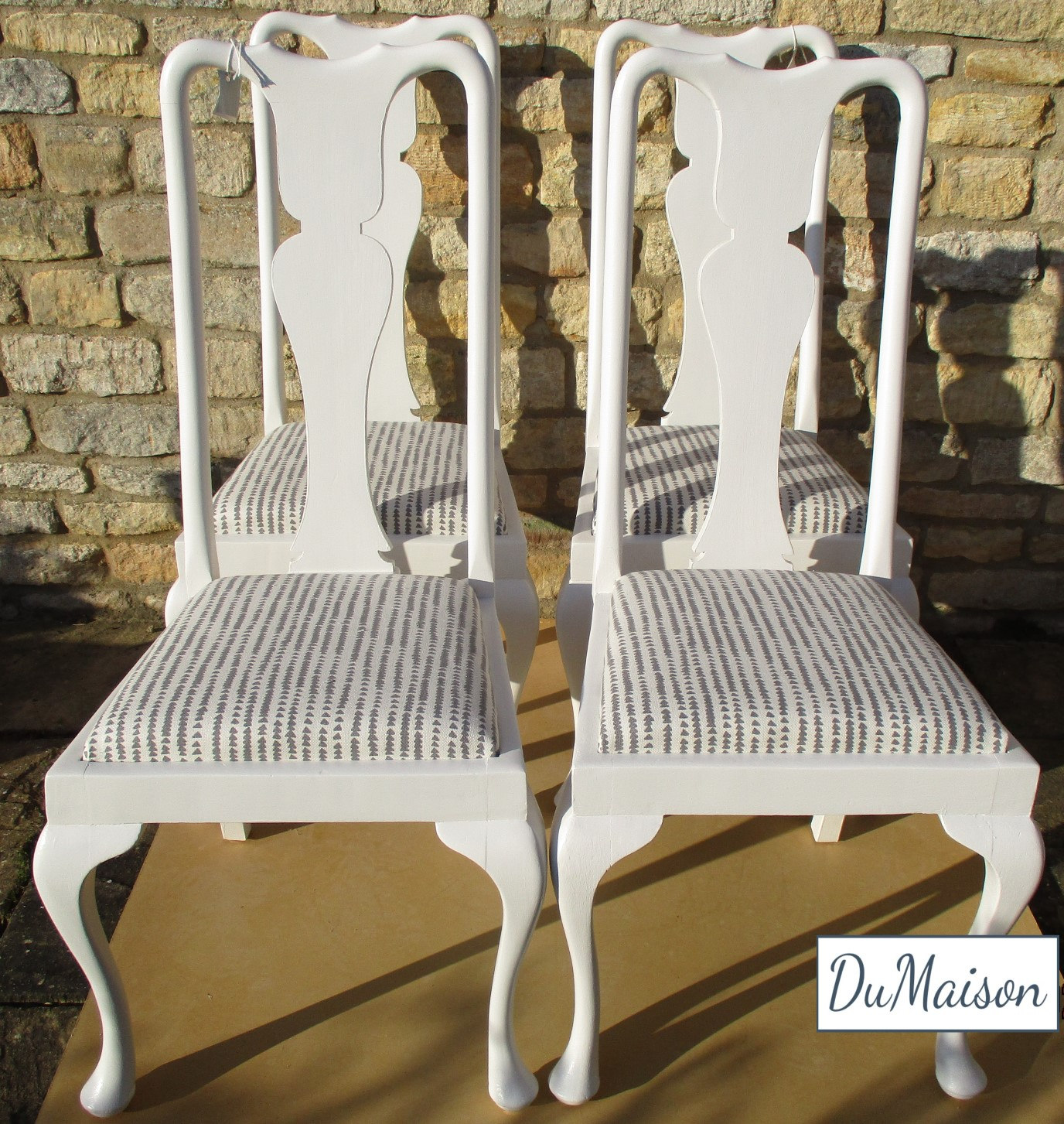 4 Painted Queen Anne Dining Chairs