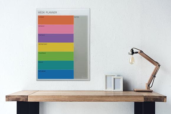 לוח תכנון שבועי צבעוני מחיק ומגנטי מזכוכית