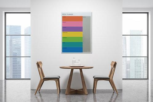 לוח תכנון שבועי צבעוני מזכוכית, מגנטי בגודל 80/60 Bclear