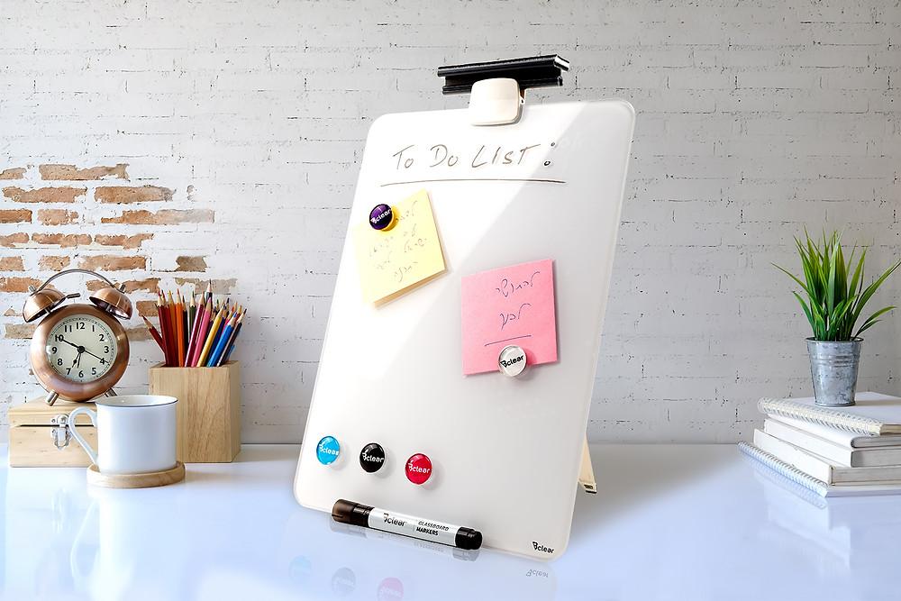 לוח מחיק שולחני מזכוכית עם מגנט לוח נייד למשרד ולעבודה מהבית