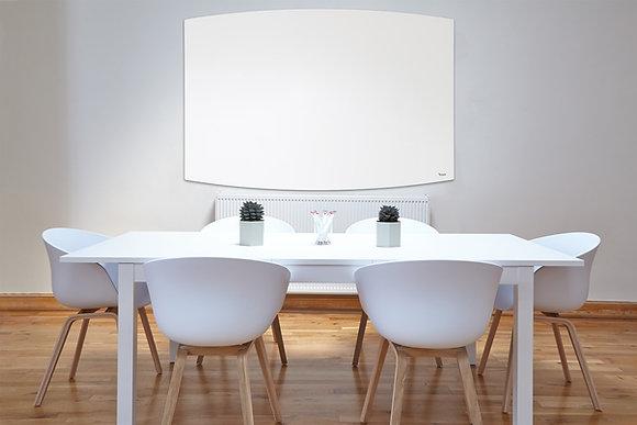 לוח זכוכית מחיק מגנטי לבן עם עיצוב מעוגל והתקנה נסתרת