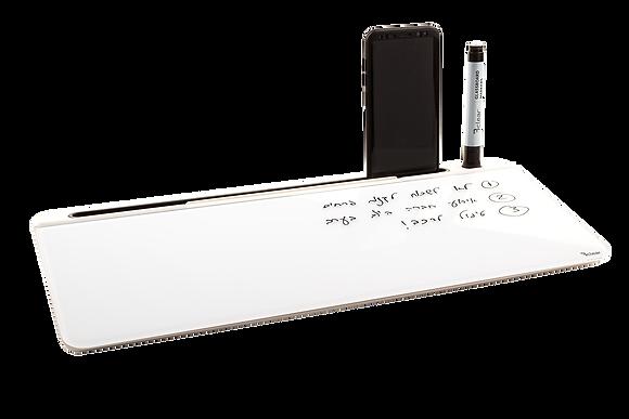 לוח זכוכית מחיק שולחני עם תאי אחסון