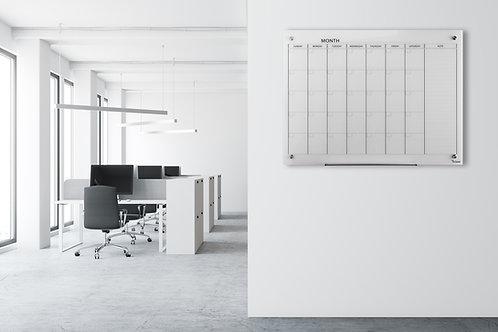 לוח תכנון חודשי לבן מחיק ומגנטי מזכוכית - Bclear