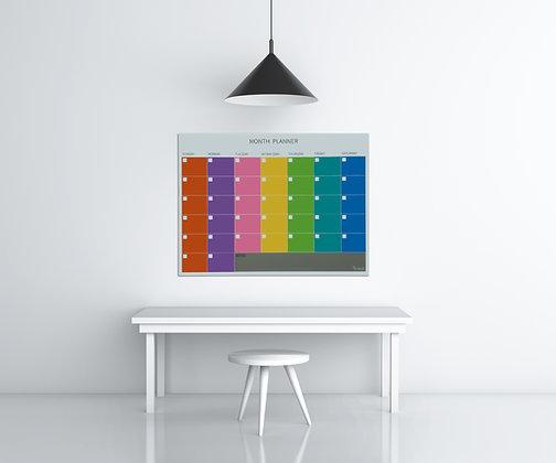 לוח תכנון חודשי צבעוני מחיק ומגנטי מזכוכית