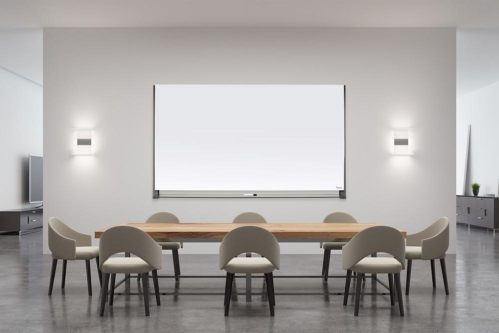 לוח מחיק זכוכית לבן לחדר ישיבות של ביקליר
