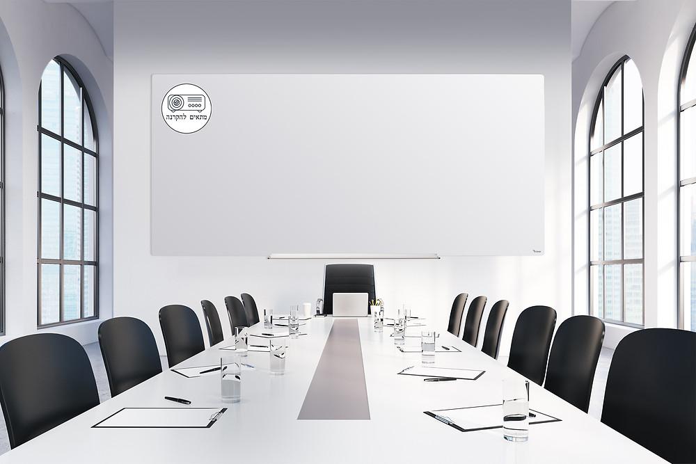 לוח מחיק ומגנטי גדול לחדר ישיבות - לוח מיוחד ללא ברק מתאים להקרנה של המותג Bclear DEB