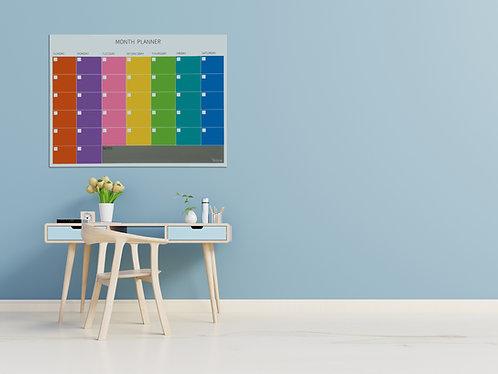 לוח תכנון חודשי צבעוני מזכוכית, מגנטי בגודל 90/120 Bclear