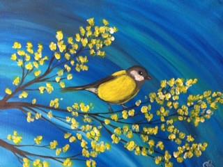 Yellow Finch & Spring Blossoms.JPG