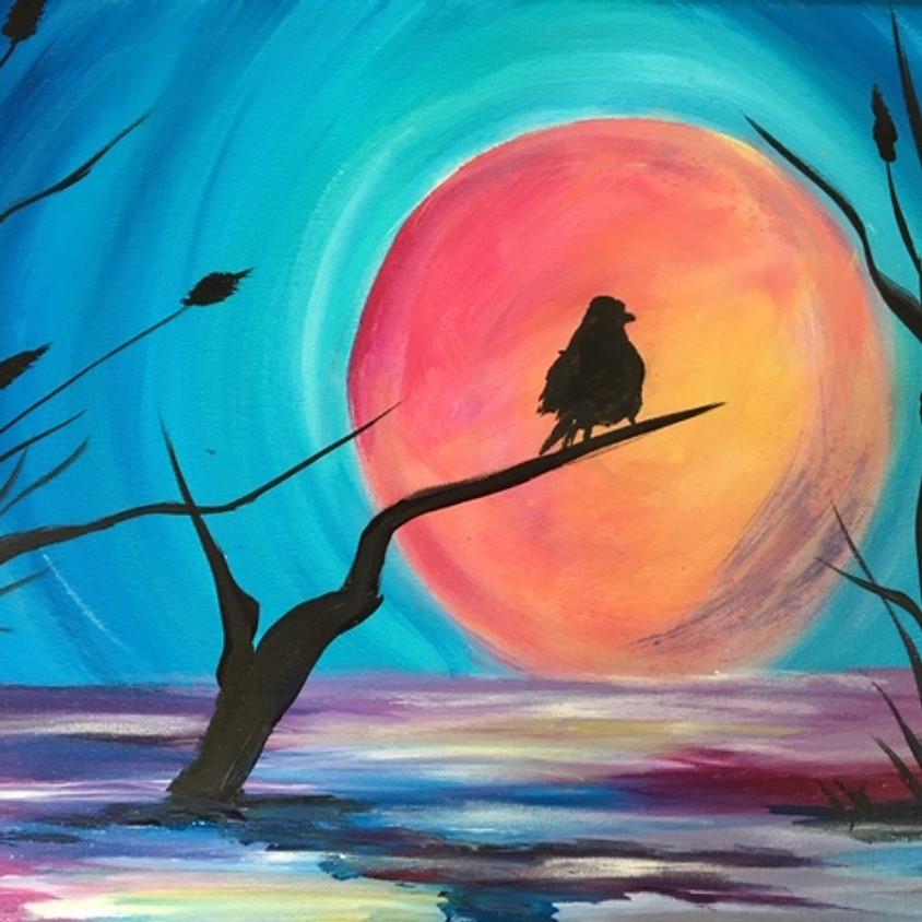 """Semiahmoo House Society  """"Sunset Bird on Lake"""""""