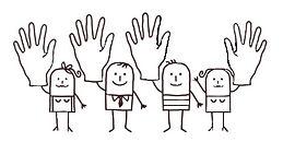 Quattro persone sorridenti stilizzate con una mano alzata