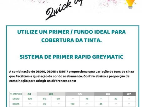 Sistema de Primer Greymatic,Fundo ideal para cobertura da tinta.