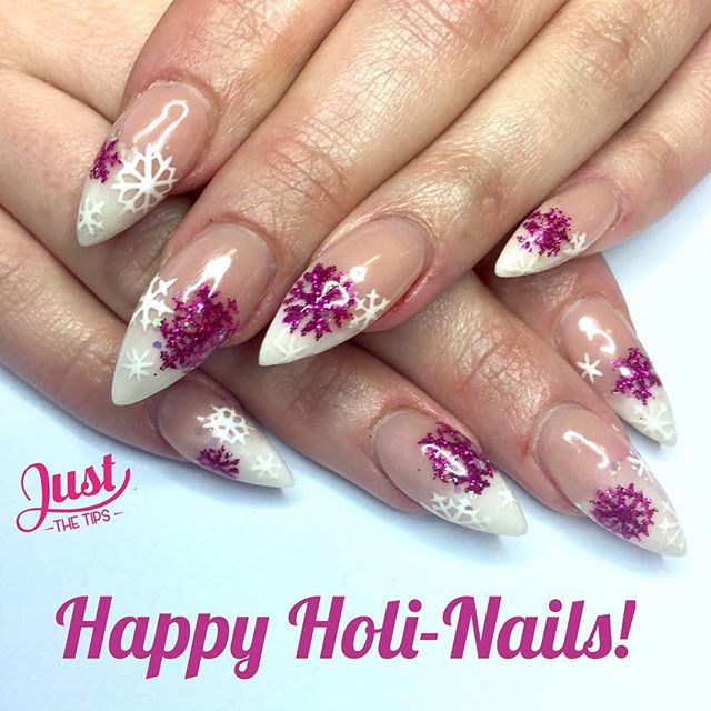 Acrylic Baby Boom with Pink Glitter Snowflake Nail Art