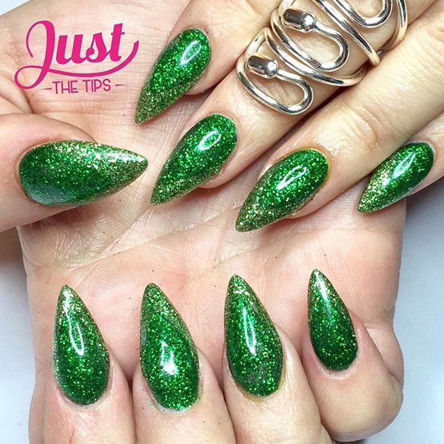 Green Glitter Chevron Nail Art Acrylic Extentions
