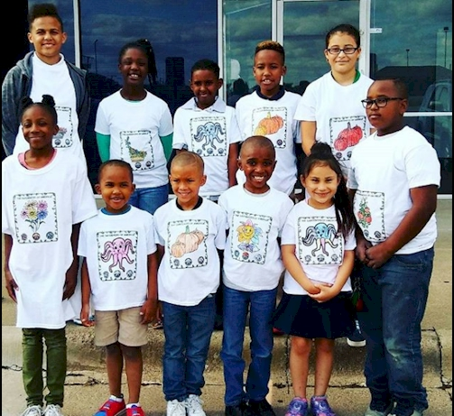 Group of Kids in White Shirts