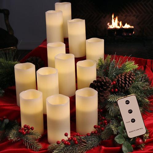 Set of 12 Wax Flameless Candles