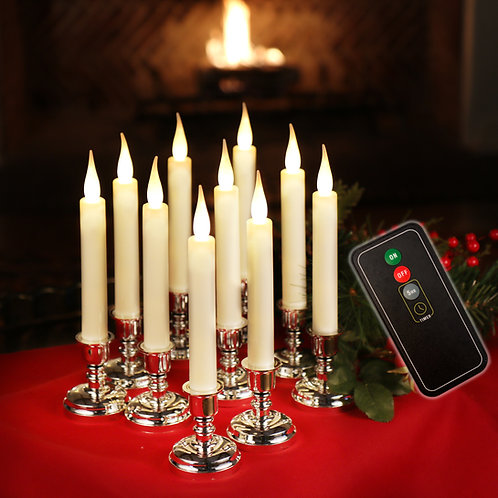 Set of 10 Window Candles with Remote Control & AA Batteries included