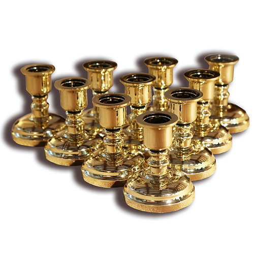 Set of 10 Plastic Gold Taper Candle Stands