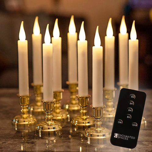 Set of 10 Window Candles, Gold Stands, with Remote Control