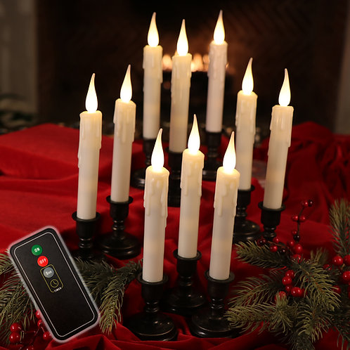 Set of 10 Drip Window Candles with Remote Control & AA Batteries Included