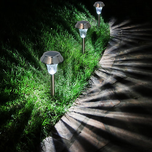 Set of 6 Silver Solar Lights