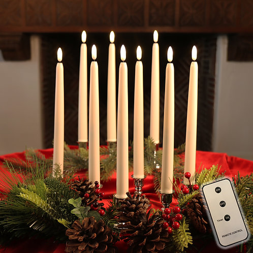 "Set of 10 Flameless 10"" LED Ivory Taper Candles Featuring Realistic Black Wick"