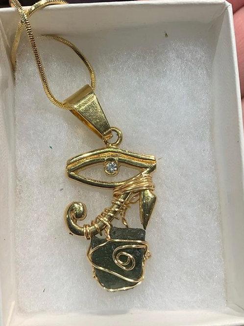 Eye of Horus Necklace with Moldavite