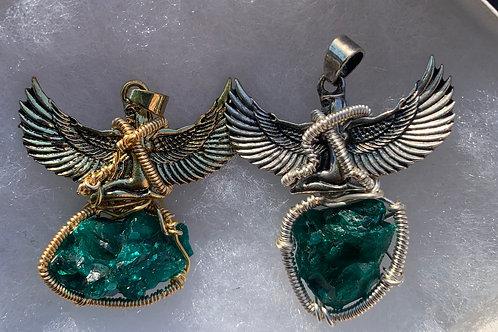 Goddess pendant w/ Dioptase
