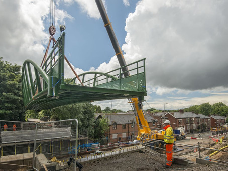 ERIC WRIGHT LIFTS A57 FOOTBRIDGE INTO PLACE