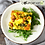 Thumbnail: Bacon, Ham and Sausage Quiche with side salad and dressing
