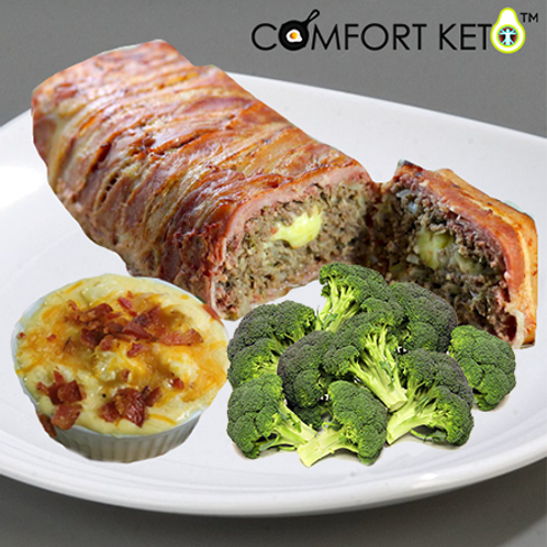 Bacon Wrapped Meatloaf with Cauliflower Mac n Cheese and Vegetable Medley