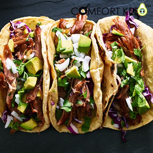 Three Carnitas Street Tacos with Mexican caulirice 
