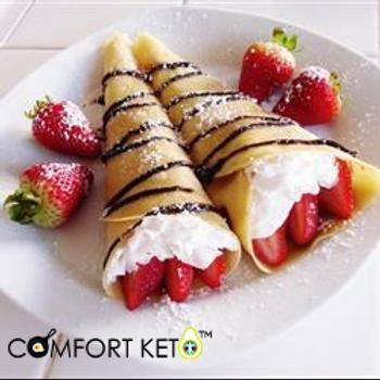 Keto Berry Crepes - 6 Vanilla Mousse Cream Rolls