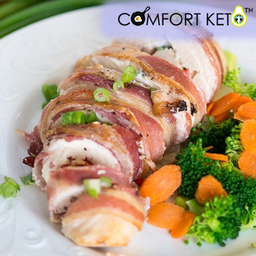 Bacon Wrapped Chicken stuffed with Pecans, Kale, and Bleu Cheese