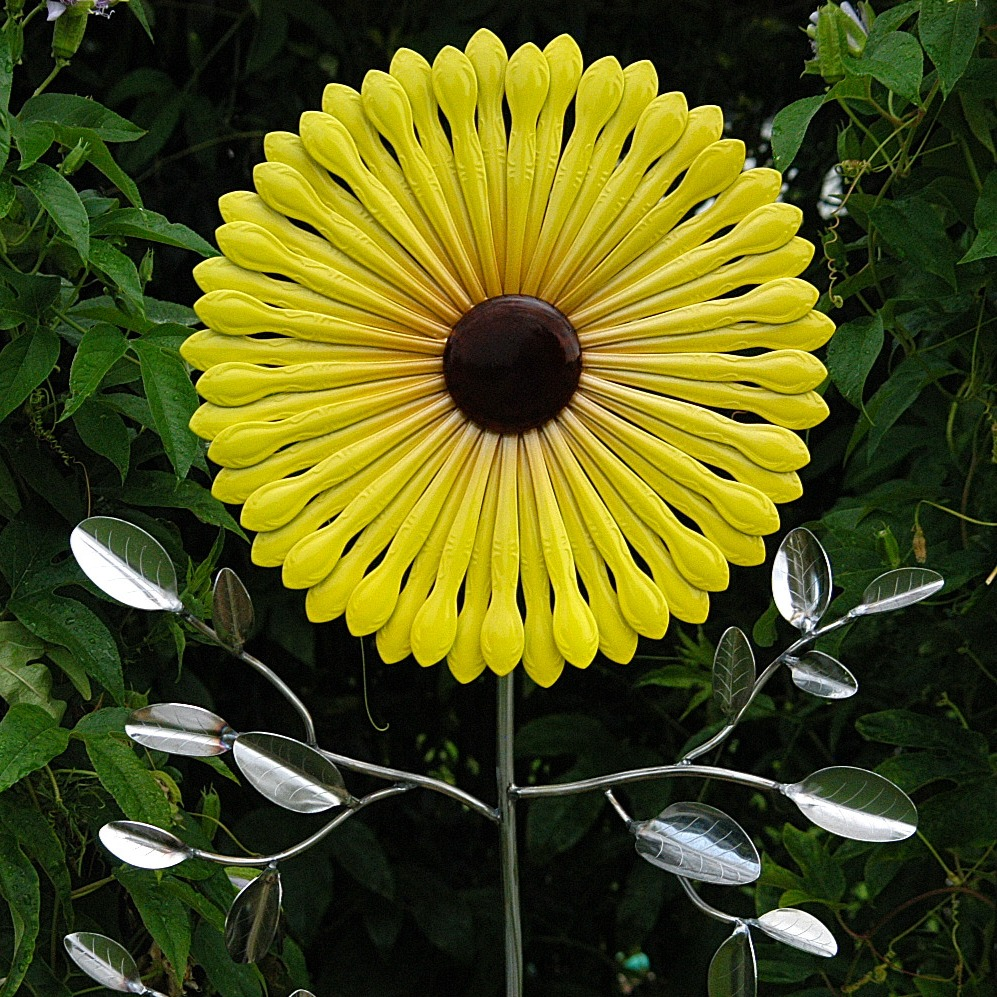 Painted Sunflower Garden Stake