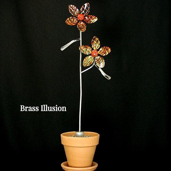Brass Illusion Small Flowers (Stake Only)