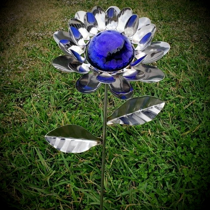 Glass Ball Flower Stake