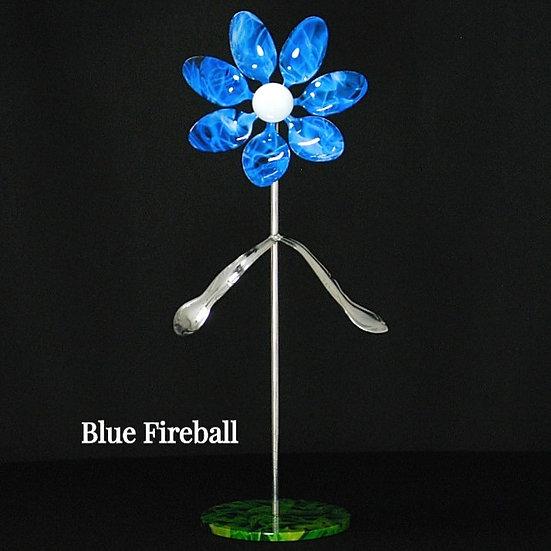 Blue Fireball Med Flower W/Base