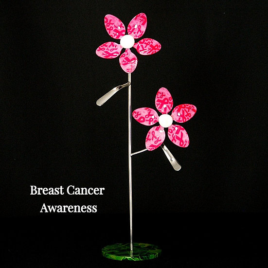 Pink Ribbon Small Flowers w/Base