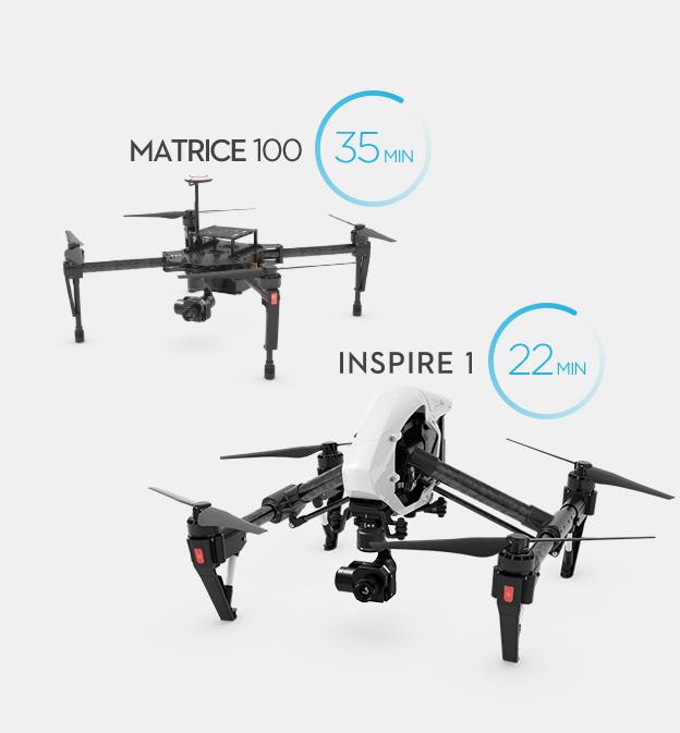 Время автономного полета Inspire 1 и Matrice 100