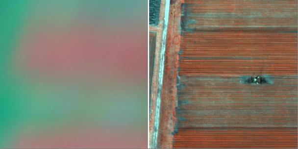 Сравнение разрешения спектральных снимков со спутника SPOT6 и беспилотного аппарата