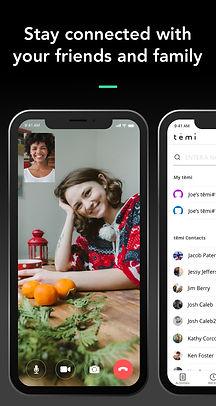 Temi App Screenshot - Video Chat + Conta