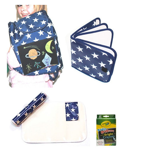 Bizzy Travel Set - Blue with white stars