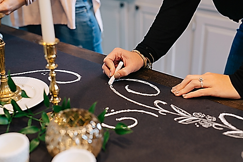 Keeping Bizzy Roll-Up Chalkboard Table Runner